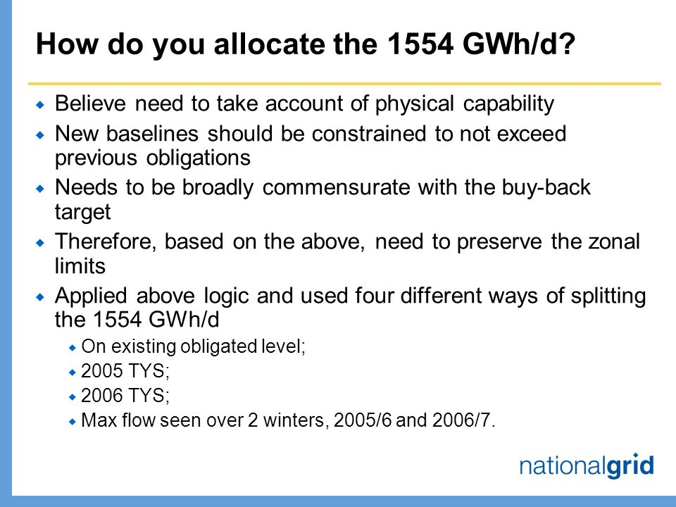 How do you allocate the 1554 GWh/d.