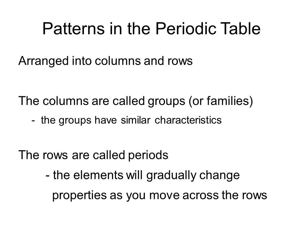9 patterns in the periodic table arranged into columns and rows - Periodic Table Of Elements Rows And Columns