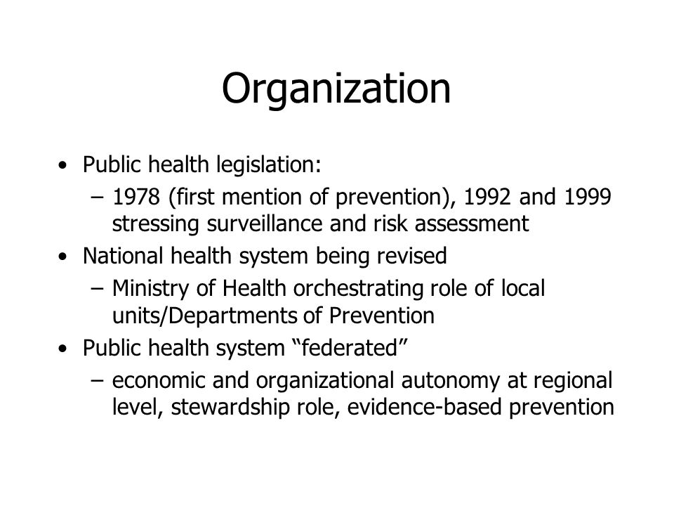 Objectives to review surveillance systems in italy for infectious public health legislation 1978 first mention of prevention 1992 and 1999 stressing surveillance and risk assessment national health system being sciox Gallery