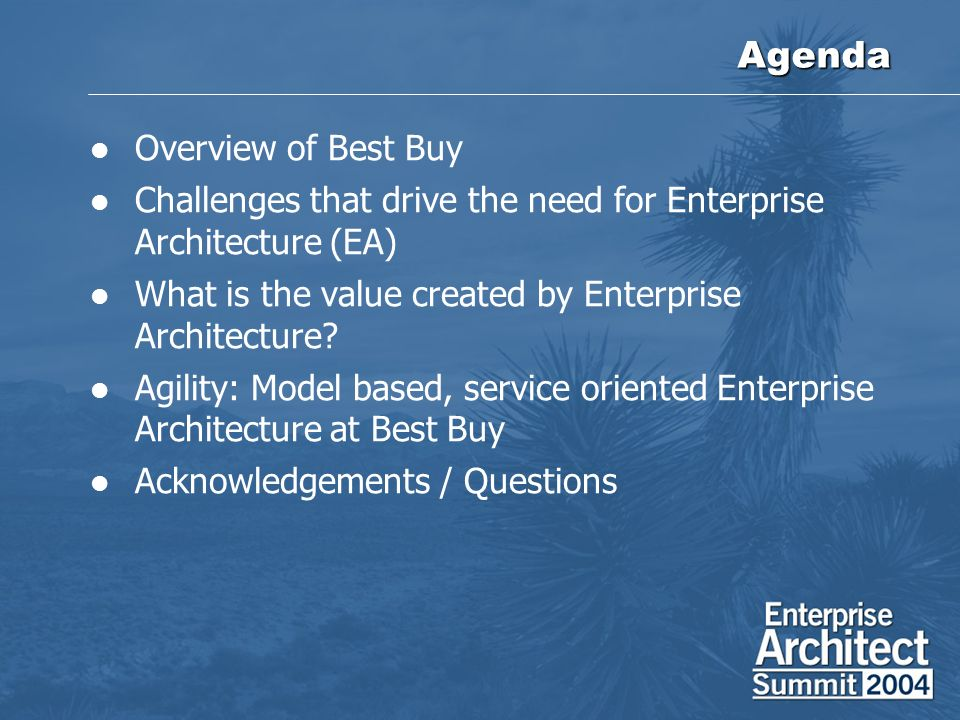 Agenda Overview Of Best Buy Challenges That Drive The Need For Enterprise  Architecture (EA)