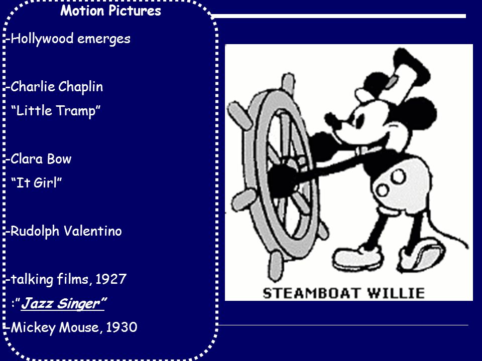 Motion Pictures -Hollywood emerges -Charlie Chaplin Little Tramp -Clara Bow It Girl -Rudolph Valentino -talking films, 1927 : Jazz Singer -Mickey Mouse, 1930