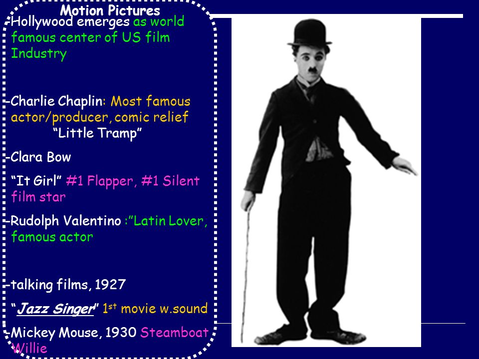 Motion Pictures -Hollywood emerges as world famous center of US film Industry -Charlie Chaplin: Most famous actor/producer, comic relief Little Tramp -Clara Bow It Girl #1 Flapper, #1 Silent film star -Rudolph Valentino : Latin Lover, famous actor -talking films, 1927 Jazz Singer 1 st movie w.sound -Mickey Mouse, 1930 Steamboat Willie