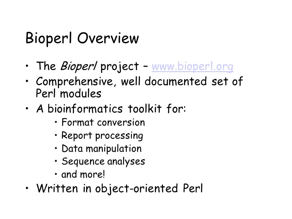 report on bioperl An introduction to bioperl as a tool for creating pipelines for data bioinformatics 101 - bioperl plant breeding need to report the video.