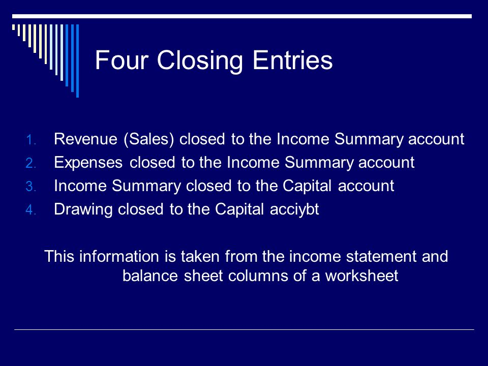 Four Closing Entries 1. Revenue (Sales) closed to the Income Summary account 2.