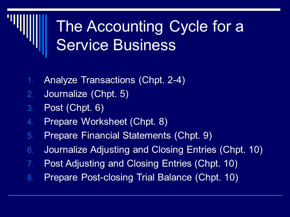 The Accounting Cycle for a Service Business 1. Analyze Transactions (Chpt.