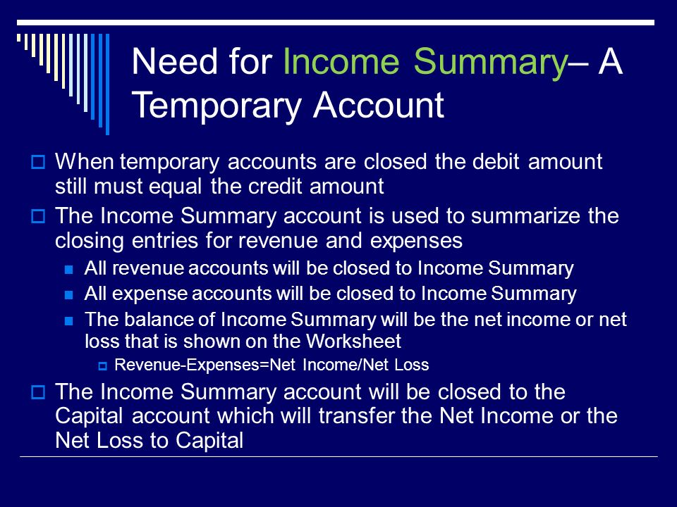 Need for Income Summary– A Temporary Account  When temporary accounts are closed the debit amount still must equal the credit amount  The Income Summary account is used to summarize the closing entries for revenue and expenses All revenue accounts will be closed to Income Summary All expense accounts will be closed to Income Summary The balance of Income Summary will be the net income or net loss that is shown on the Worksheet  Revenue-Expenses=Net Income/Net Loss  The Income Summary account will be closed to the Capital account which will transfer the Net Income or the Net Loss to Capital