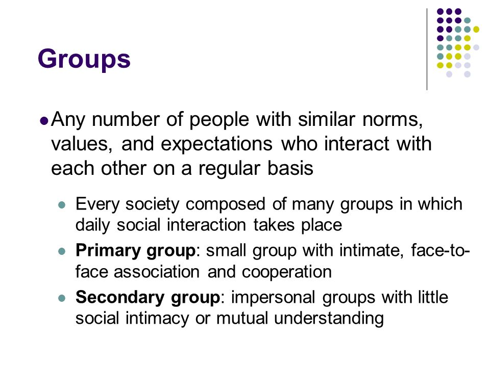 Groups Any number of people with similar norms, values, and expectations who interact with each other on a regular basis Every society composed of man