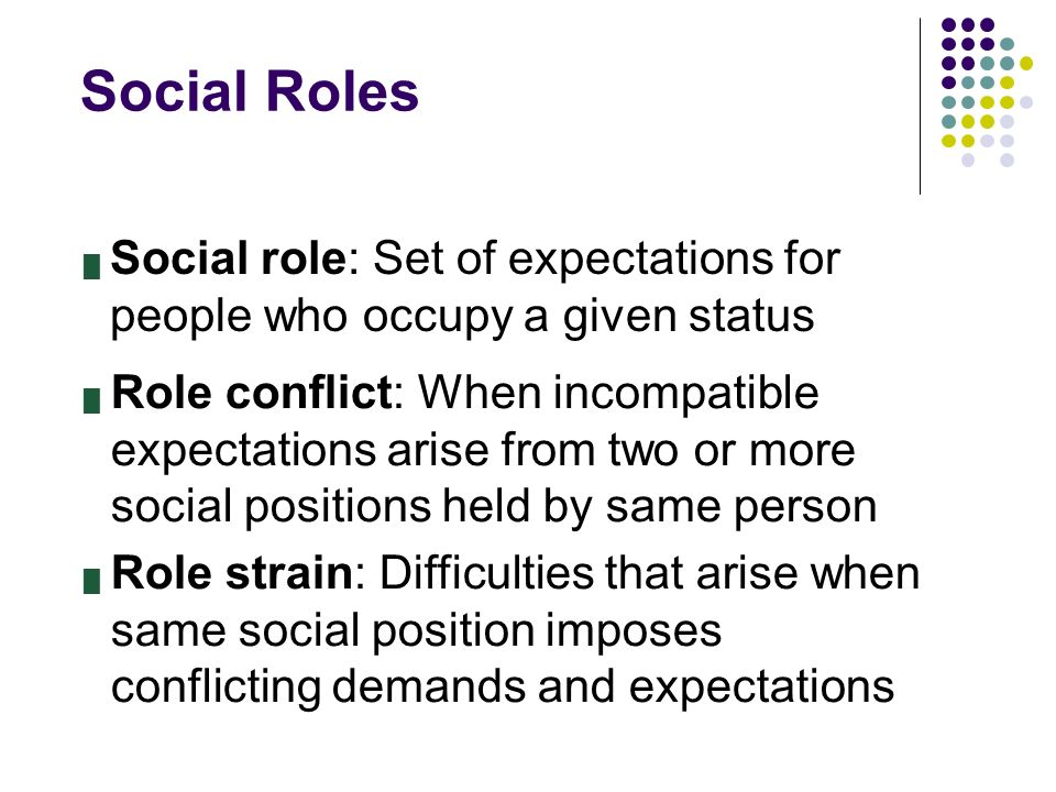 Social Roles █ Social role: Set of expectations for people who occupy a given status █ Role conflict: When incompatible expectations arise from two or