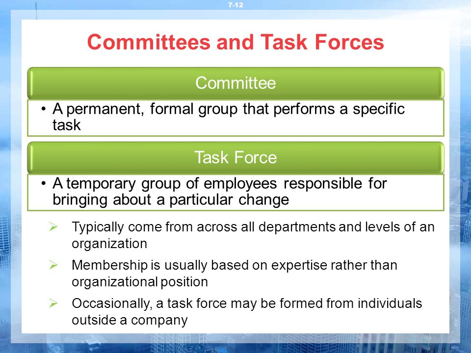 Committees and Task Forces 7-12  Typically come from across all departments and levels of an organization  Membership is usually based on expertise