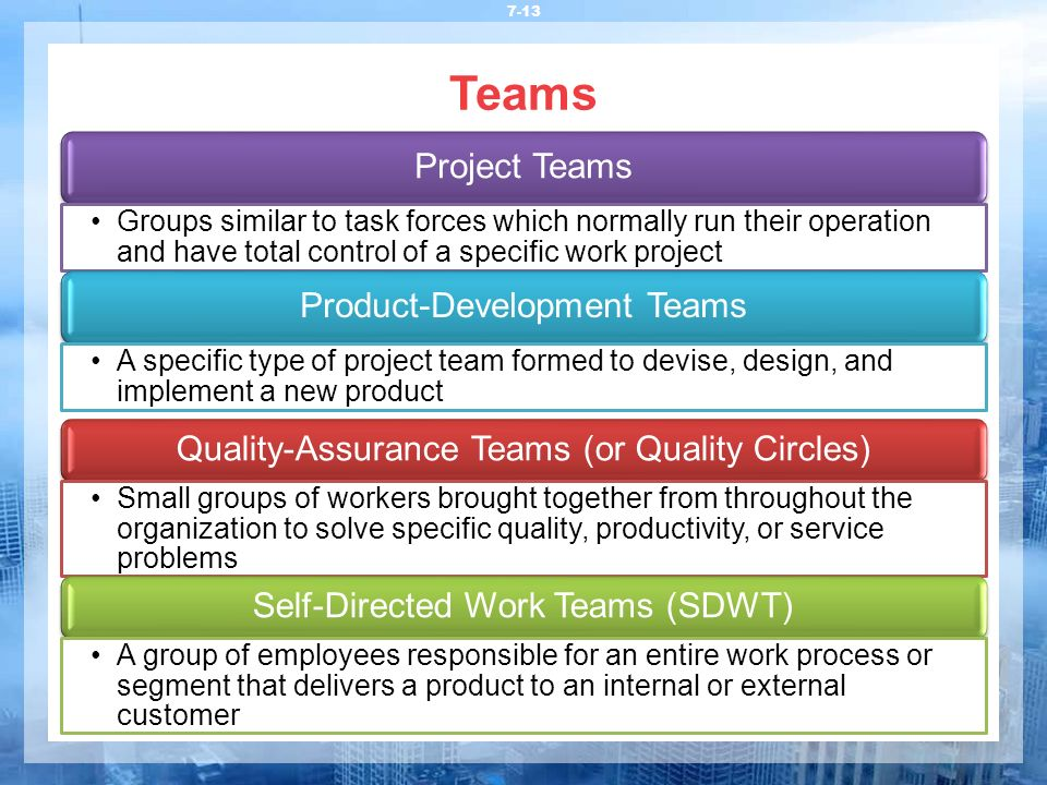 Teams 7-13 Project Teams Groups similar to task forces which normally run their operation and have total control of a specific work project Product-De