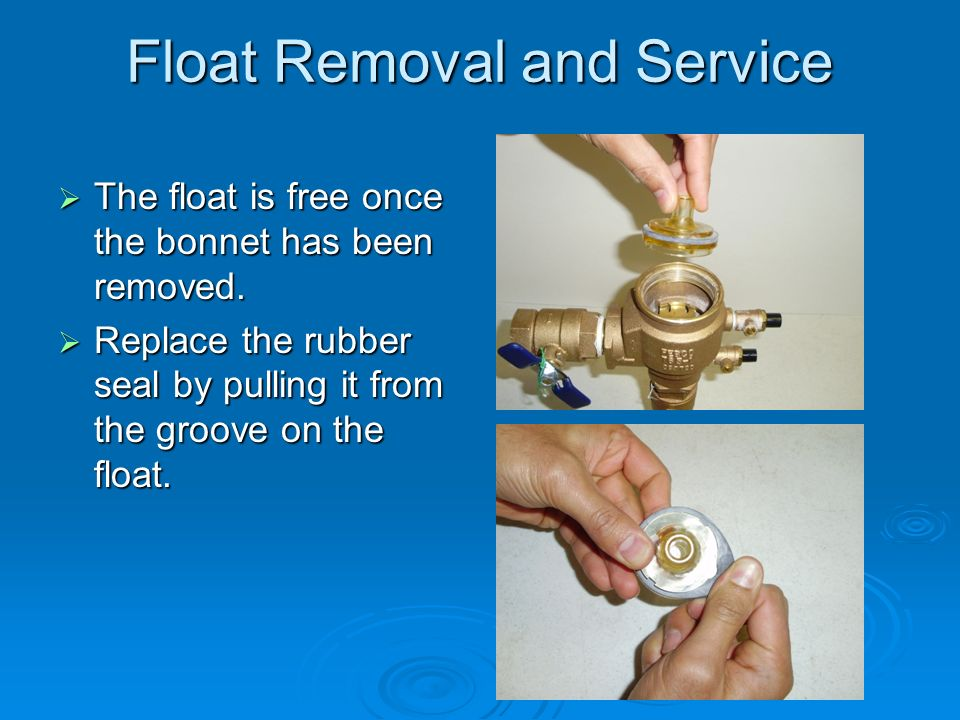 Float Removal and Service  The float is free once the bonnet has been removed.