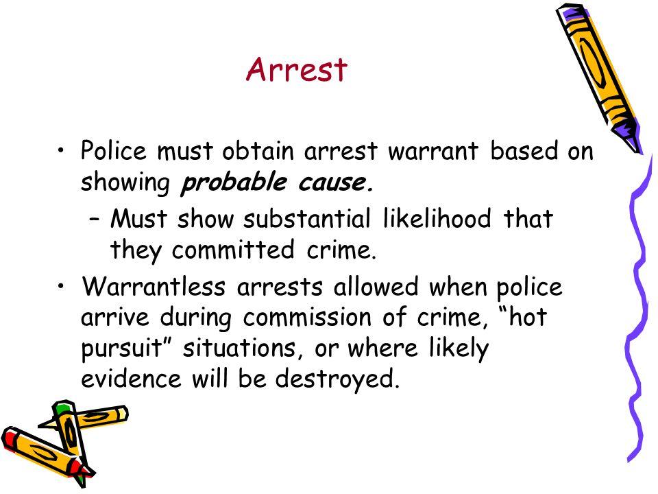 Arrest Police must obtain arrest warrant based on showing probable cause.