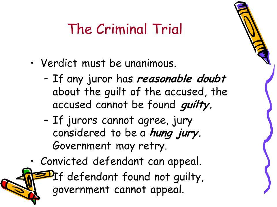 The Criminal Trial Verdict must be unanimous.