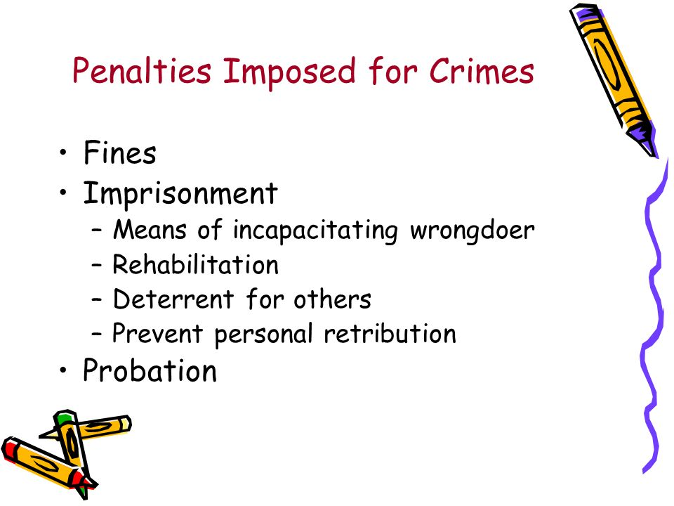 Penalties Imposed for Crimes Fines Imprisonment –Means of incapacitating wrongdoer –Rehabilitation –Deterrent for others –Prevent personal retribution Probation