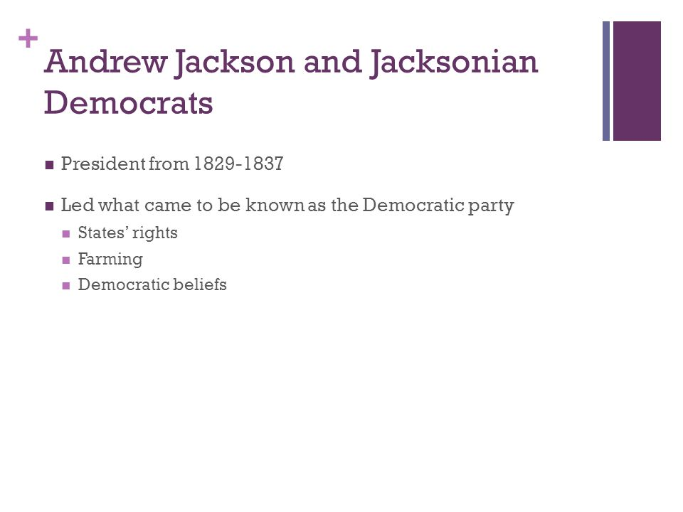 the objectives of the jacksonian democrats led by andrew jackson The familiar labels the age of jackson and jacksonian democracy identify andrew jackson with the era in which he lived and with the advancement of political democracy.