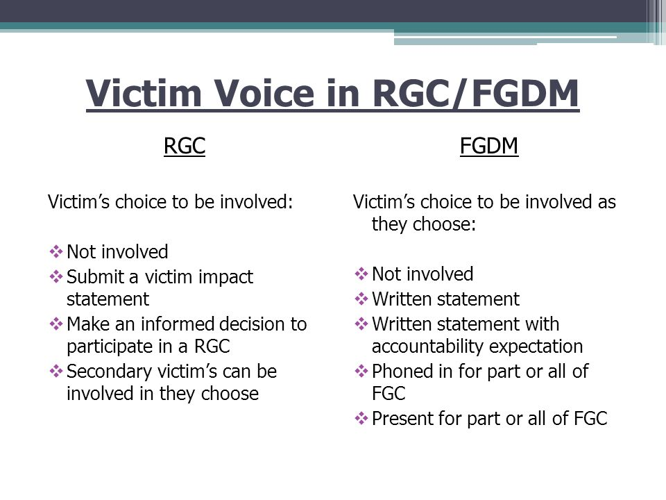 The Crime Victim Role: Family Group Decision Making And