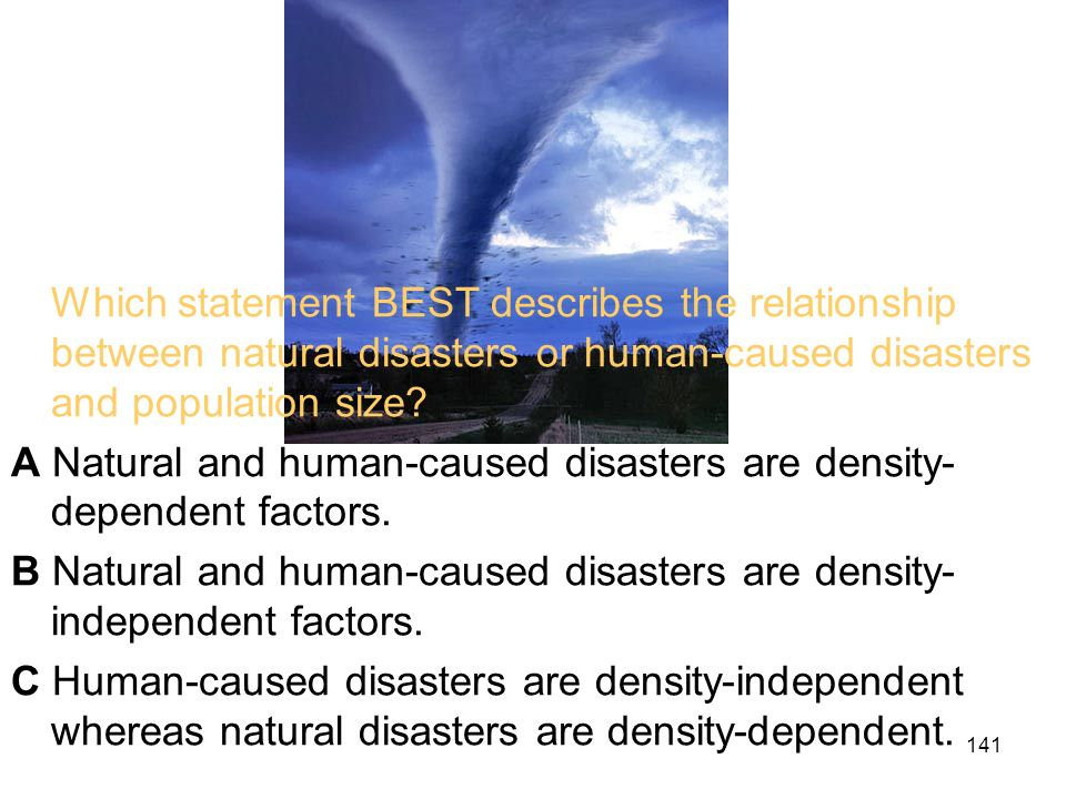 Which statement BEST describes the relationship between natural disasters or human-caused disasters and population size.