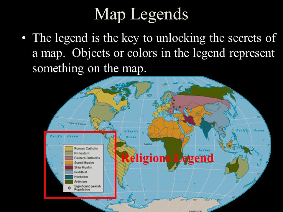 Latitude and longitude ppt video online download 23 map legends the legend is the key to unlocking the secrets of a map objects or colors in the legend represent something on the map religions legend gumiabroncs Images