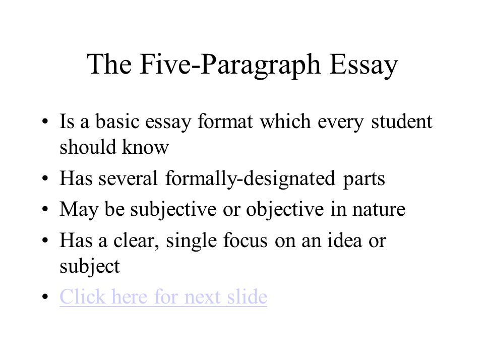 the five paragraph essay tips for success click here to start  2 the five paragraph essay