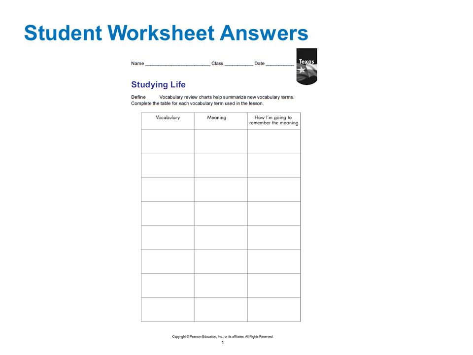 Characteristics of life worksheet answers