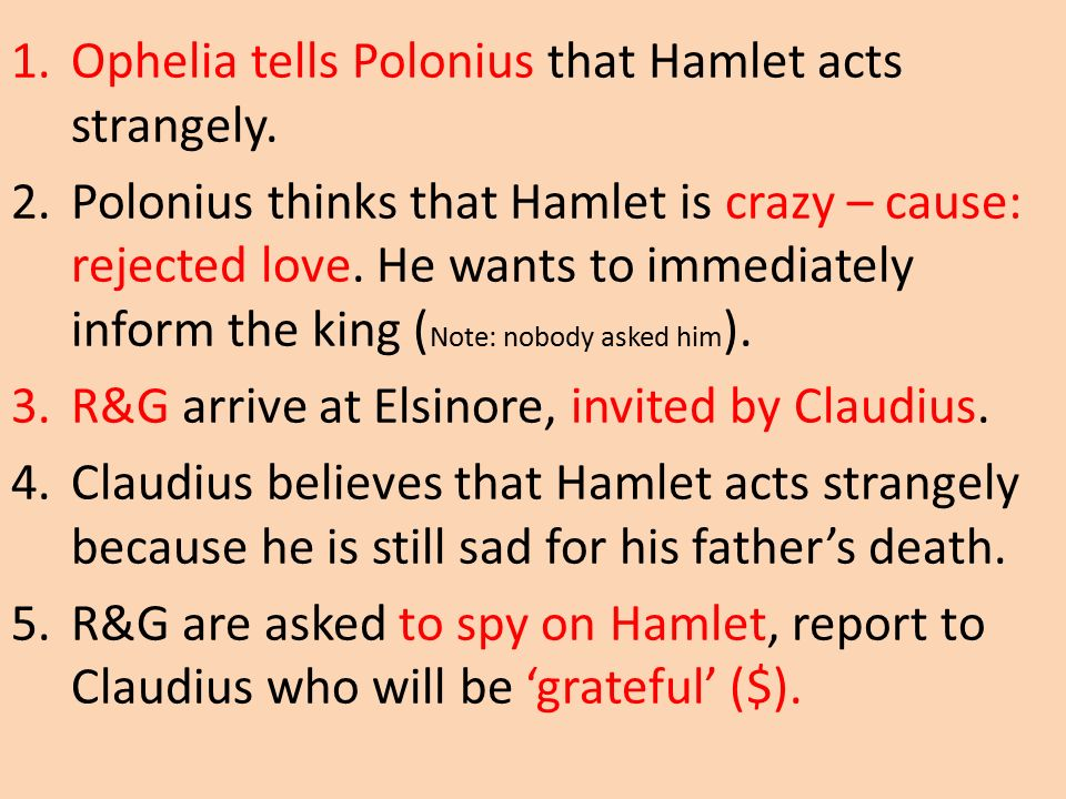 polonius and laertes assist hamlet Hamlet's reflex action on hearing a hidden voice in his mother's room, while in a highly emotional mood, results in him killing polonius almost accidentally without his important father, laertes may lose his status and his place at court.