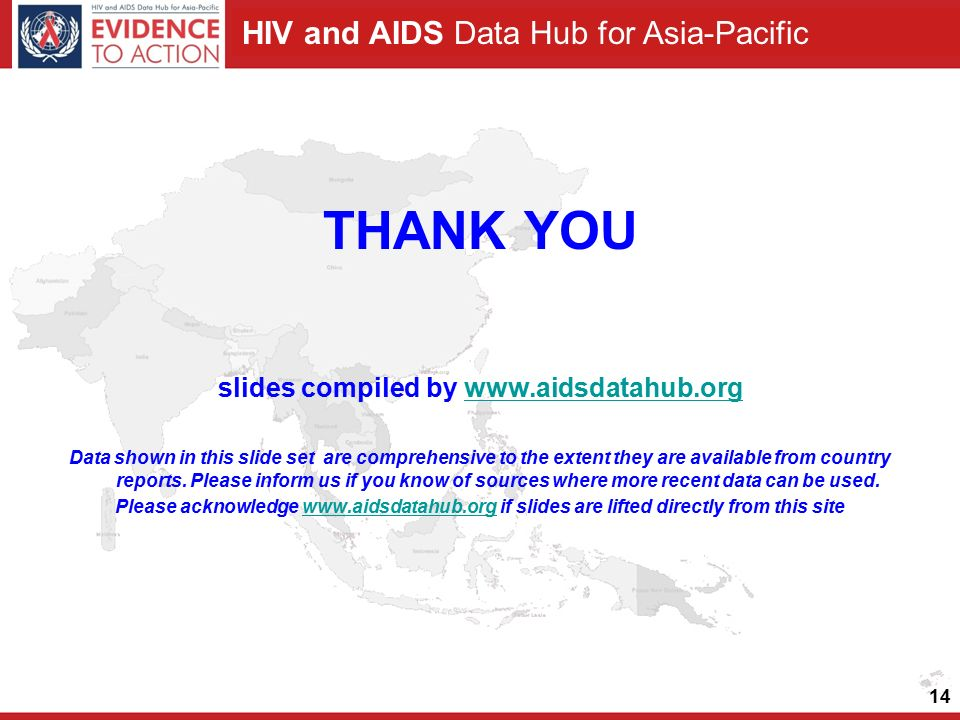 HIV and AIDS Data Hub for Asia-Pacific 14 THANK YOU slides compiled by   Data shown in this slide set are comprehensive to the extent they are available from country reports.
