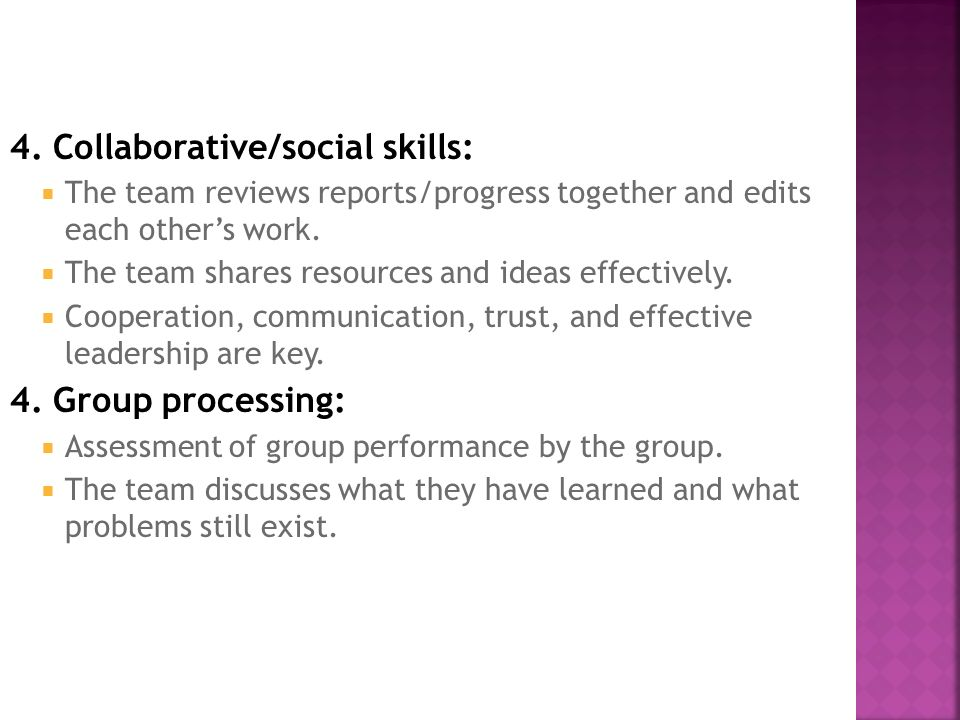 4. Collaborative/social skills:  The team reviews reports/progress together and edits each other's work.  The team shares resources and ideas effect