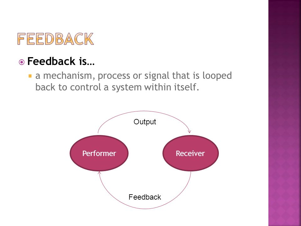  Feedback is…  a mechanism, process or signal that is looped back to control a system within itself. PerformerReceiver Feedback Output
