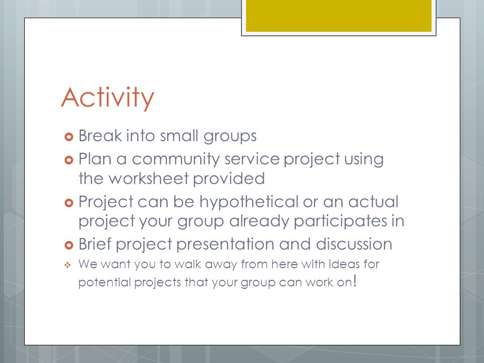Great Things Within Reach Planning Community Service Projects By – Community Service Worksheet