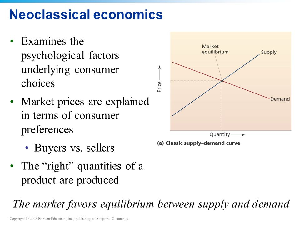 Copyright © 2008 Pearson Education, Inc., publishing as Benjamin Cummings Neoclassical economics Examines the psychological factors underlying consumer choices Market prices are explained in terms of consumer preferences Buyers vs.