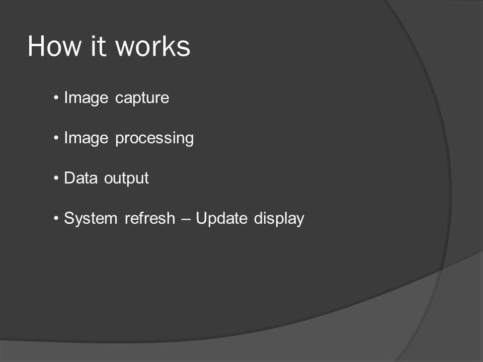 How it works Image capture Image processing Data output System refresh – Update display