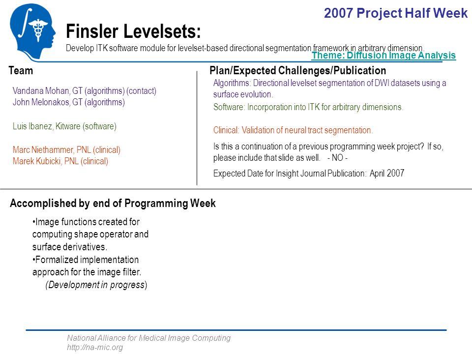 National Alliance for Medical Image Computing http://na-mic.org Finsler Levelsets: Develop ITK software module for levelset-based directional segmentation framework in arbitrary dimension.
