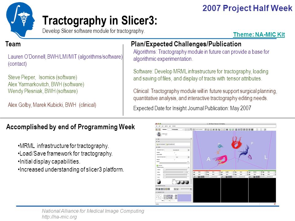 National Alliance for Medical Image Computing http://na-mic.org Tractography in Slicer3: Develop Slicer software module for tractography.