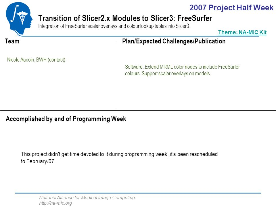 National Alliance for Medical Image Computing http://na-mic.org Transition of Slicer2.x Modules to Slicer3: FreeSurfer Integration of FreeSurfer scalar overlays and colour lookup tables into Slicer3.