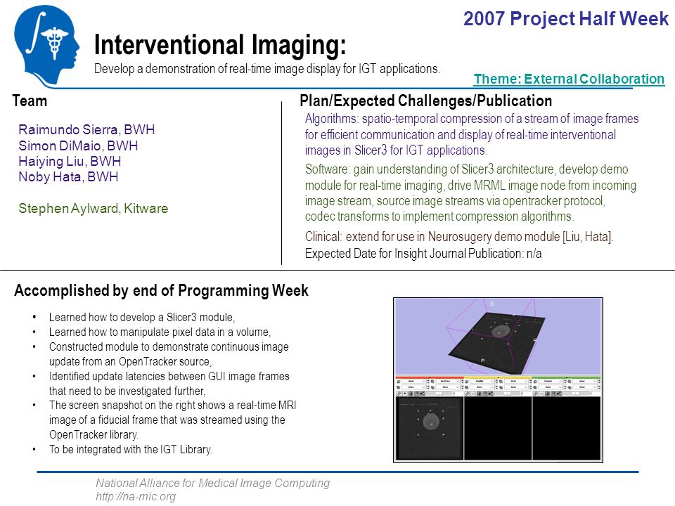 National Alliance for Medical Image Computing http://na-mic.org Interventional Imaging: Develop a demonstration of real-time image display for IGT applications.