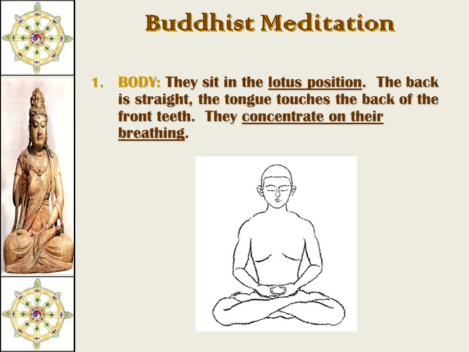 Buddhist Meditation  What: calming of the mind, clearing it of bad thoughts that lead to hatred, greed and ignorance  Who: Monks, nuns, and lay people.
