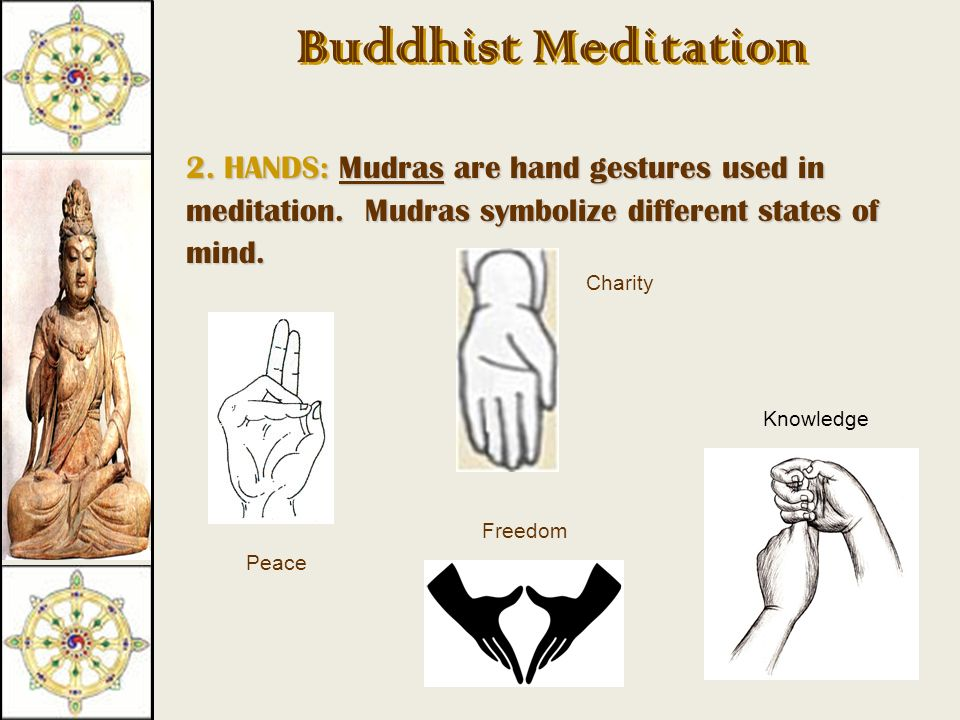 Buddhist Meditation 1. BODY: They sit in the lotus position.