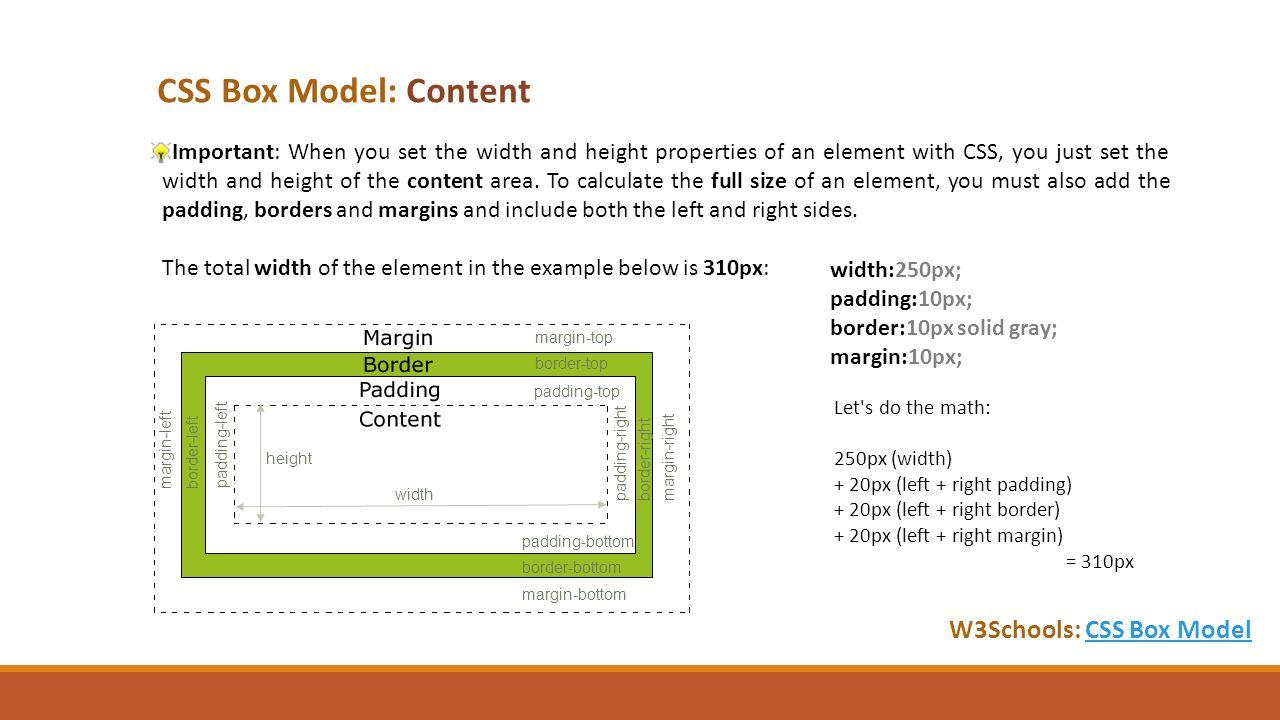 Web colors w3schools - Css Box Model Content W3schools Css Box Modelcss Box Model Important When You
