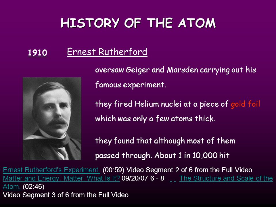 HISTORY OF THE ATOM Thompson develops the idea that an atom was made up of electrons scattered unevenly within an elastic sphere surrounded by a soup of positive charge to balance the electron s charge 1904 like plums surrounded by pudding.