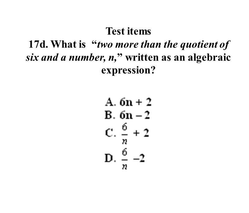 Test items 17d.