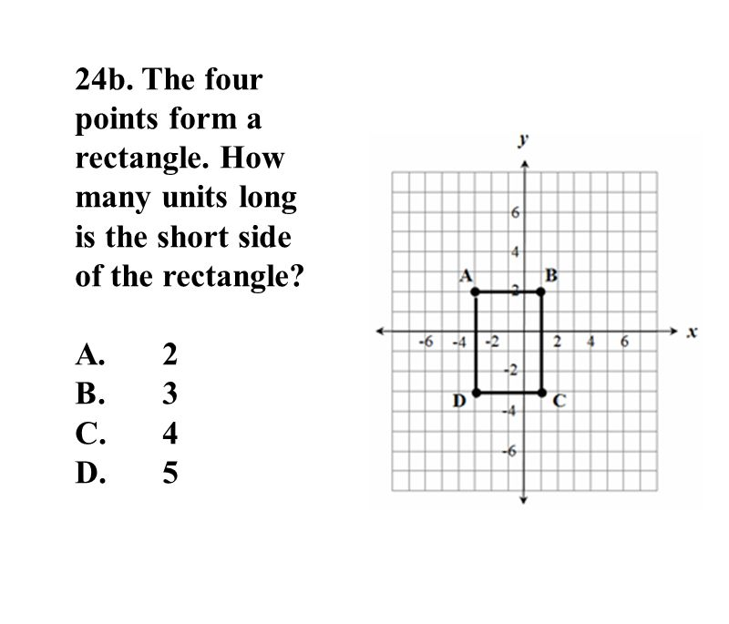 24b. The four points form a rectangle. How many units long is the short side of the rectangle.