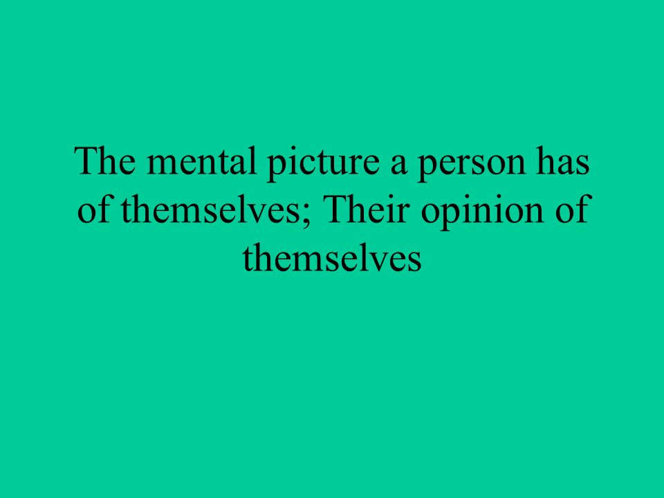 The mental picture a person has of themselves; Their opinion of themselves