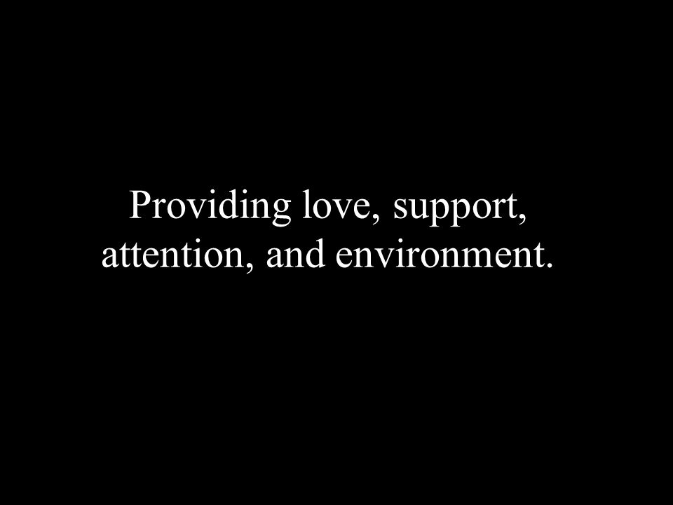 Providing love, support, attention, and environment.