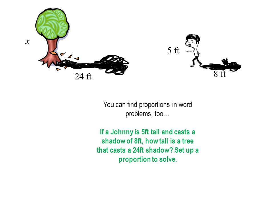 x 24 ft 5 ft 8 ft You can find proportions in word problems, too… If a Johnny is 5ft tall and casts a shadow of 8ft, how tall is a tree that casts a 24ft shadow.