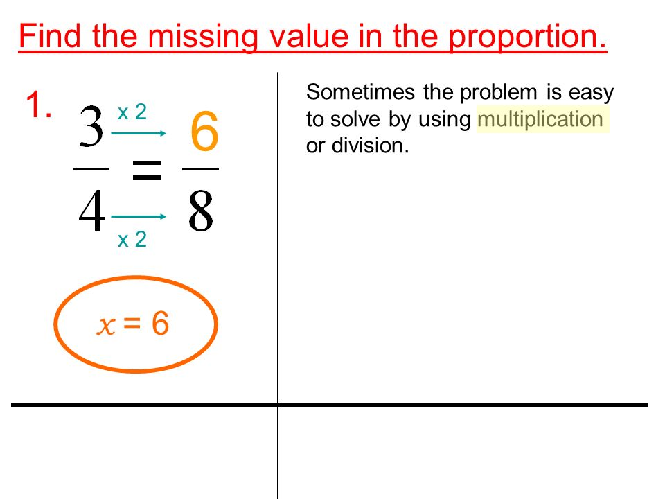 Find the missing value in the proportion. 1.