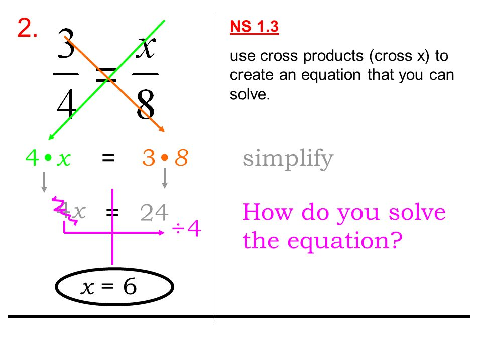 2. NS 1.3 use cross products (cross x) to create an equation that you can solve.