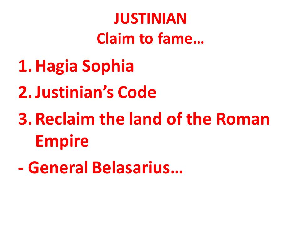 Byzantine Empire JUSTINIAN Claim to fame 1Hagia Sophia 2 – Justinian Code Worksheet