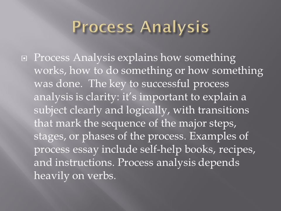 Process analysis essay on cooking