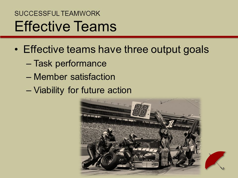 SUCCESSFUL TEAMWORK Effective Teams Effective teams have three output goals –Task performance –Member satisfaction –Viability for future action