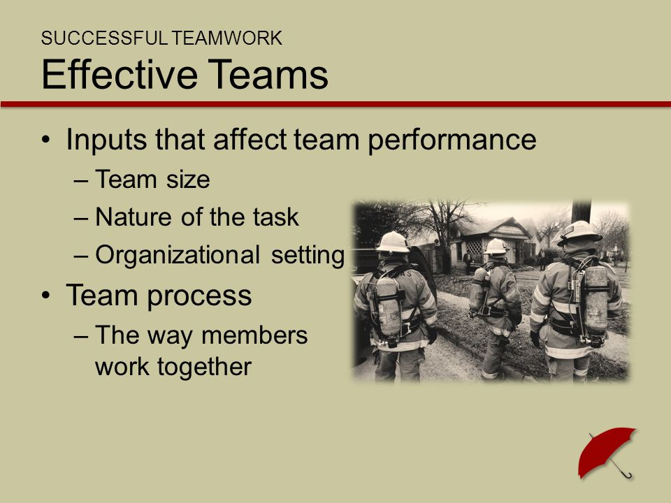 SUCCESSFUL TEAMWORK Effective Teams Inputs that affect team performance –Team size –Nature of the task –Organizational setting Team process –The way members work together